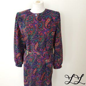 Vintage Dress Florentine Long Belt Purple Red 80s